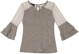 Amy Byer Iz Girls 7-16 IZ Lace Shoulder Fuzzy Bell Sleeve Top