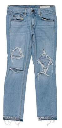 Rag & Bone Distressed Mid-Rise Boyfriend Jeans
