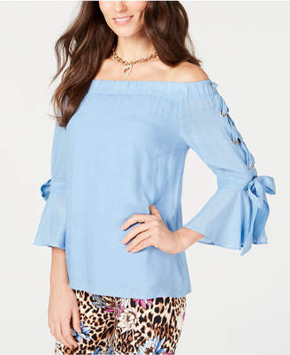 Thalia Sodi Off-The-Shoulder Gauze Lace-Up Top