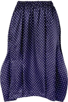 Comme des Garcons Asymmetric Polka-dot Washed-satin Midi Skirt - Navy
