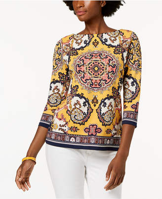 Charter Club Printed Boatneck Top, Created for Macy's