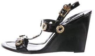 Tory Burch Patent Leather Embellished Wedges