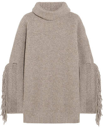Stella McCartney - Fringed Ribbed Cashmere And Wool-blend Turtleneck Sweater - Sand $1,095 thestylecure.com