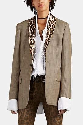 R 13 Women's Leopard-Trimmed Houndstooth-Plaid Wool Blazer
