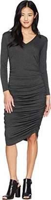 Norma Kamali Women's Long Sleeve V Neck Shirred Dress