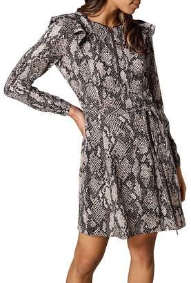 Karen Millen Ruffled Snake Print Dress