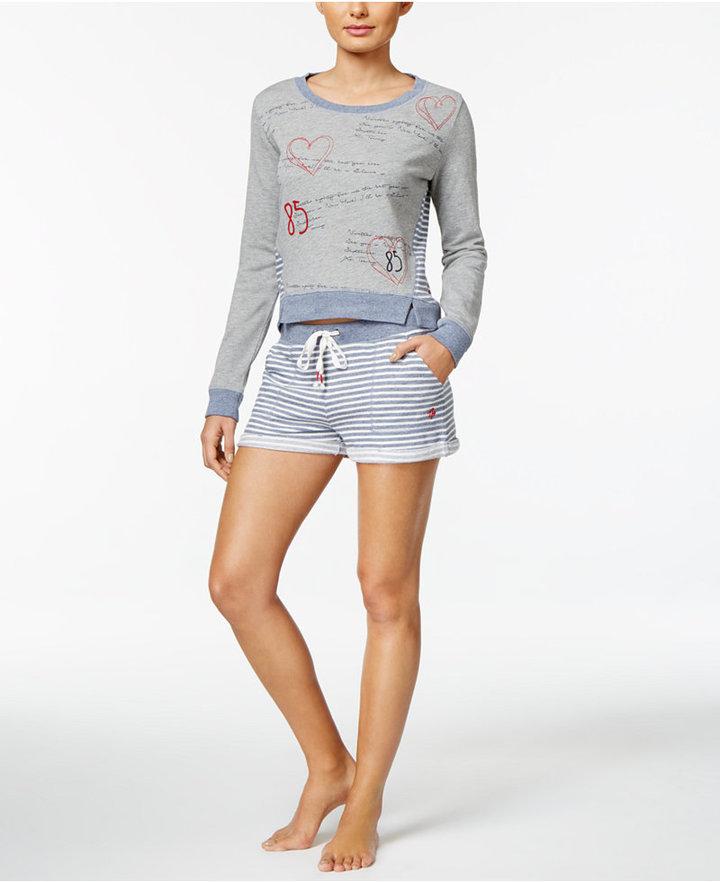 Tommy HilfigerTommy Hilfiger Cotton-Blend Sweatshirt and Shorts Pajama Set