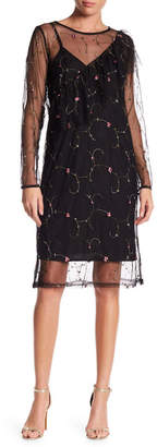 Everly Embroidered Mesh Midi Dress