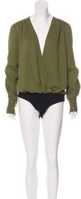 Altuzarra Plunging Neck Long Sleeve Bodysuit Green Plunging Neck Long Sleeve Bodysuit