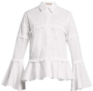 Preen Line Suki Ruffle Trimmed Cotton Shirt - Womens - White