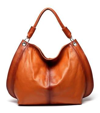 Vicenzo Leather Camelia Brown Leather Tote Shoulder Handbag