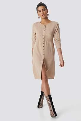 NA-KD Na Kd Shirred Waist Buttoned Midi Dress Beige