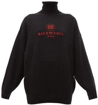 Balenciaga Roll Neck Wool And Cashmere Blend Sweater - Womens - Black Red
