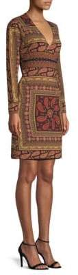 Etro Flouard Paisley Jersey Wrap Dress