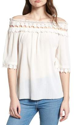 Bishop + Young BISHOP AND YOUNG Olivia Crochet Trim Off the Shoulder Top
