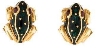David Webb 18K Enamel Frog Earrings
