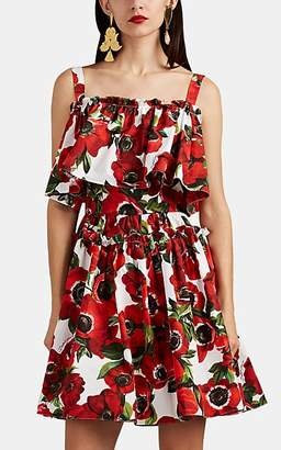 Dolce & Gabbana Women's Floral Cotton Poplin Tiered Dress - White