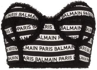 Balmain stripe logo cropped bustier top