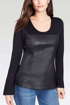 Ecru Leather Front Top