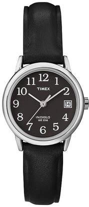 Timex Easy Reader Womens Black Leather Strap Watch T2N5259J