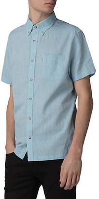 Ben Sherman Short-Sleeved Linen-Blend Sport Shirt
