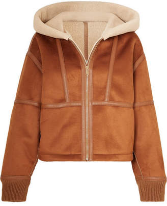 Stella McCartney (ステラ マッカートニー) - Stella McCartney - Hooded Faux Leather-trimmed Faux Shearling And Suede Jacket - Brown