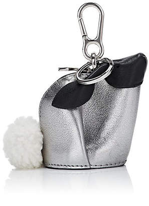 Loewe Women's Bunny Leather Coin Purse Key Chain - Silver