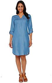 C. Wonder Polka Dot Print Chambray Shirt Dresswith Pockets