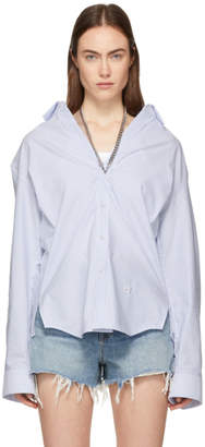 Alexander Wang Blue and White Striped Open Neck Chain Shirt