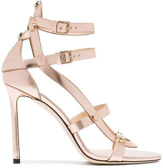 Jimmy Choo Rose gold Motoko 100 leather sandals