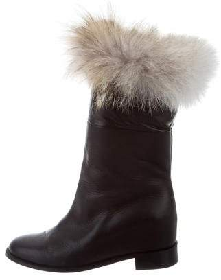 Christian Louboutin Fur-Trimmed Leather Boots