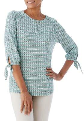 Olsen Printed Tie-Sleeve Top