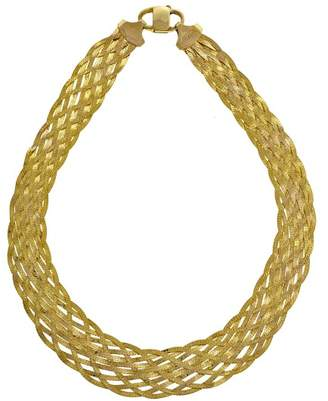 14K Yellow Gold 10 Strand Woven Chain Necklace
