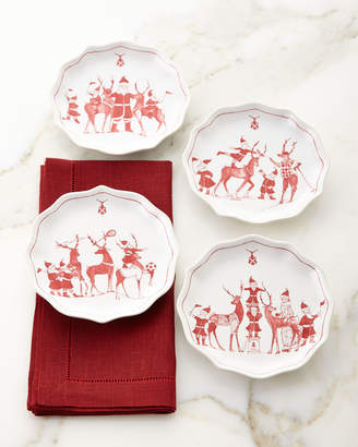 Juliska Country Estate Reindeer Games Tidbit Plates, Set of 4