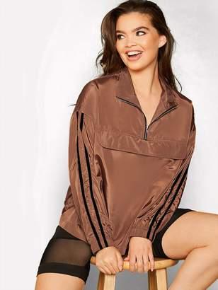 Shein Plus Striped Side Half Zipper Front Wind Jacket