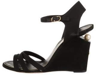 Chanel Pearl-Embellished Wedge Sandals