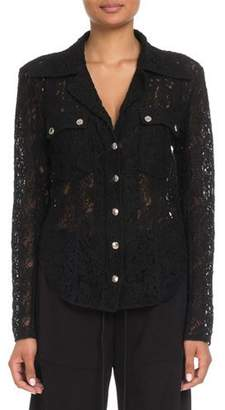 Chloé Lace Button-Front Blouse