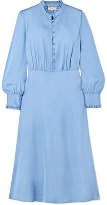 Paul & Joe Ruffle-trimmed Satin Midi Dress - Blue