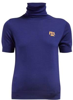 Prada Intarsia Logo Roll Neck Wool Sweater - Womens - Navy