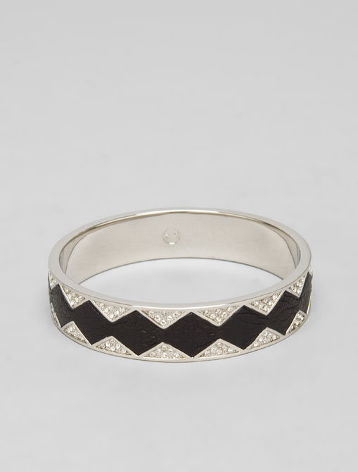 House of Harlow Black Leather Crystal Bangle