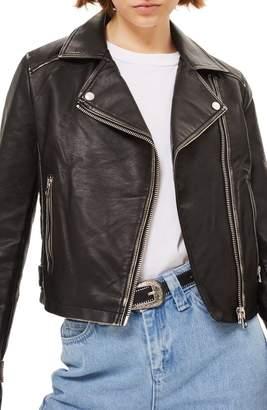 Topshop Washed Wolf Zipper Moto Jacket