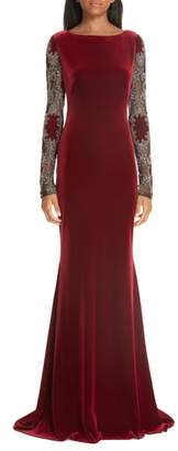 Badgley Mischka Platinum Embellished Sleeve Velvet Gown
