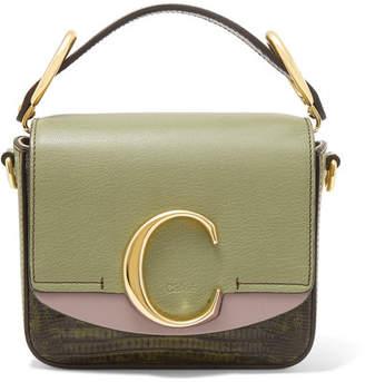 Chloé C Mini Color-block Lizard-effect Leather Shoulder Bag - Green