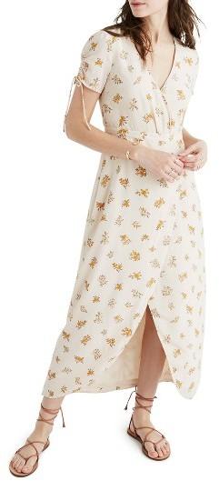 Women's Madewell Faux Wrap Silk Maxi Dress