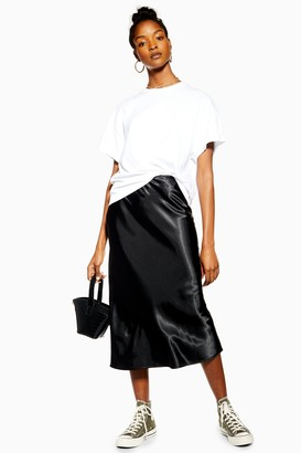 Topshop Black Satin Bias Midi Skirt