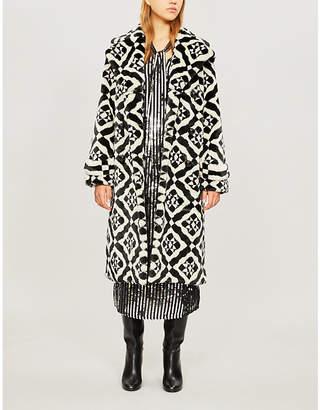 Mary Katrantzou Stokes geometric-pattern faux-fur wrap coat