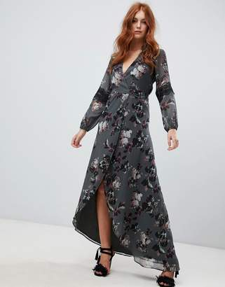 Hope and Ivy Hope & Ivy long sleeve wrap front maxi dress in floral print