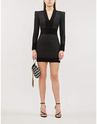 Balmain V-neck long-sleeved woven mini dress