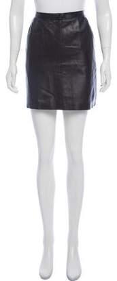 Muveil Bow-Accented Leather Skirt