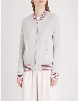 Chinti and Parker Striped-trim cashmere bomber jacket